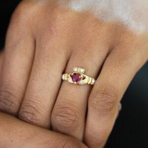 designyard 14k yellow gold heart shape ruby diamond claddagh ring contemporary irish jewelry gallery dublin ireland handmade irish celtic jewelry dublin ireland