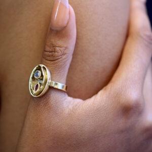 friederike grace 14k yellow gold ruby moonstone ring designyard contemporary jewellery gallery dublin ireland handmade jewelry design designer irish jewellers shop