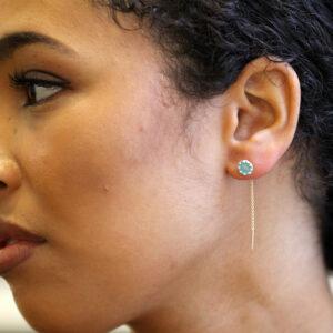 neeltje slater silver 14k yellow gold blue enamel threader earrings designyard contemporary jewellery gallery dublin ireland handmade jewelry design designer irish jewellers shop