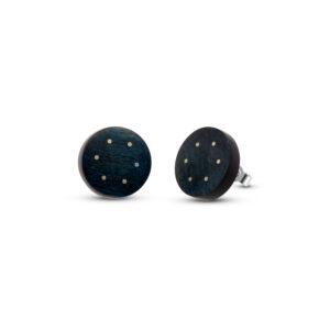 roger bennett sterling silver black circle maple earrings with silver inlay designyard contemporary jewellery gallery dublin ireland handmade jewelry design designer irish jewellers shop