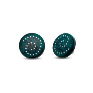 roger bennett sterling silver green maple earrings with silver inlay designyard contemporary jewellery gallery dublin ireland handmade irish wood jewelry design designer jewellers shop