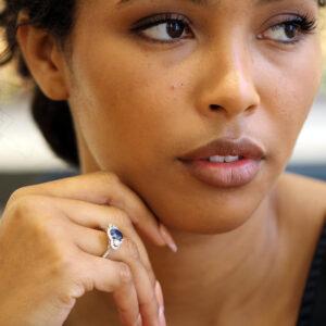 ronan campbell platinum yellow gold oval blue sapphire diamond engagement ring designyard contemporary jewellery gallery dublin ireland handmade jewelry design designer irish jewellers shop