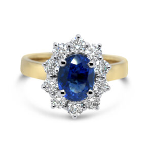 ronan campbell yellow gold oval blue sapphire diamond engagement ring designyard contemporary jewellery gallery dublin ireland handmade jewelry design designer irish jewellers shop