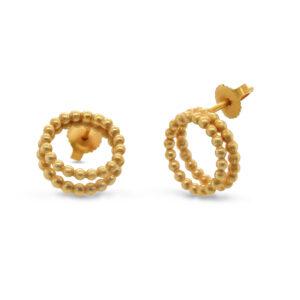 sophia epp sterling silver gold plated double circle stud earrings designyard contemporary jewellery gallery dublin ireland handmade jewelry design designer irish jewellers shop