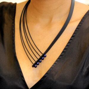 ursula muller five strand blue rubber necklace designyard contemporary jewellery gallery dublin ireland handmade jewelry design designer irish jewellers shop